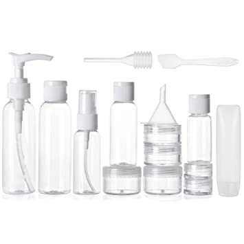 7c43e5be3de1 ALINK Travel Size Toiletry Bottles Set, TSA Approved Clear Cosmetic Makeup  Liquid Containers with Zipper Bag