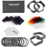 Neewer Complete Square Filter Kit Compatible with Cokin P Series: Full ND2 ND4 ND 8 Filter,Graduated ND2,ND4,ND8 FiltersGraduated Blue/Red/Yellow/Pink/Green/Orange Filer+Ring Adater(9 pieces)