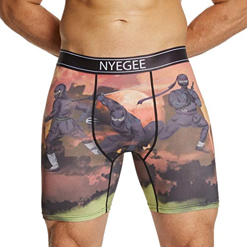 (Mens Boxer Briefs Long Leg Trunks Underwear Quick Dry Fit Wicking Boxer Briefs Tagless with 3D Print No Rise Up)