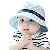 Millya Infant Baby Toddler Solid Brim Stripe Sun Protection Hat 100% Cotton (Blue-brim)