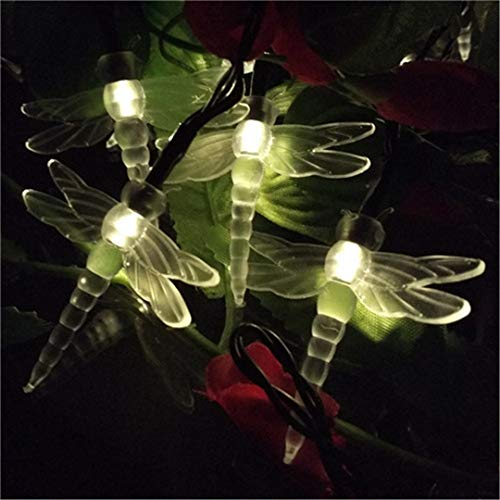 BGFHDSD Xmas 4.8M 20 Dragonfly Energy Saving Solar Fairy LED String Light Lamp Outdoor Lighting Strings Party Garden Decoration Warm White by BGFHDSD