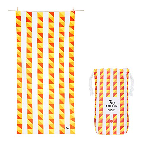 Dock & Bay XL Lightweight Beach Towels Microfibre - Tomatina, Extra Large (200x90cm, 78x35) - Compact Quick Dry Towels