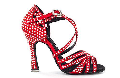 Scarpa da ballo Limited Edition in raso rosso con listini incrociati, 5 fasce tacco 10 cm