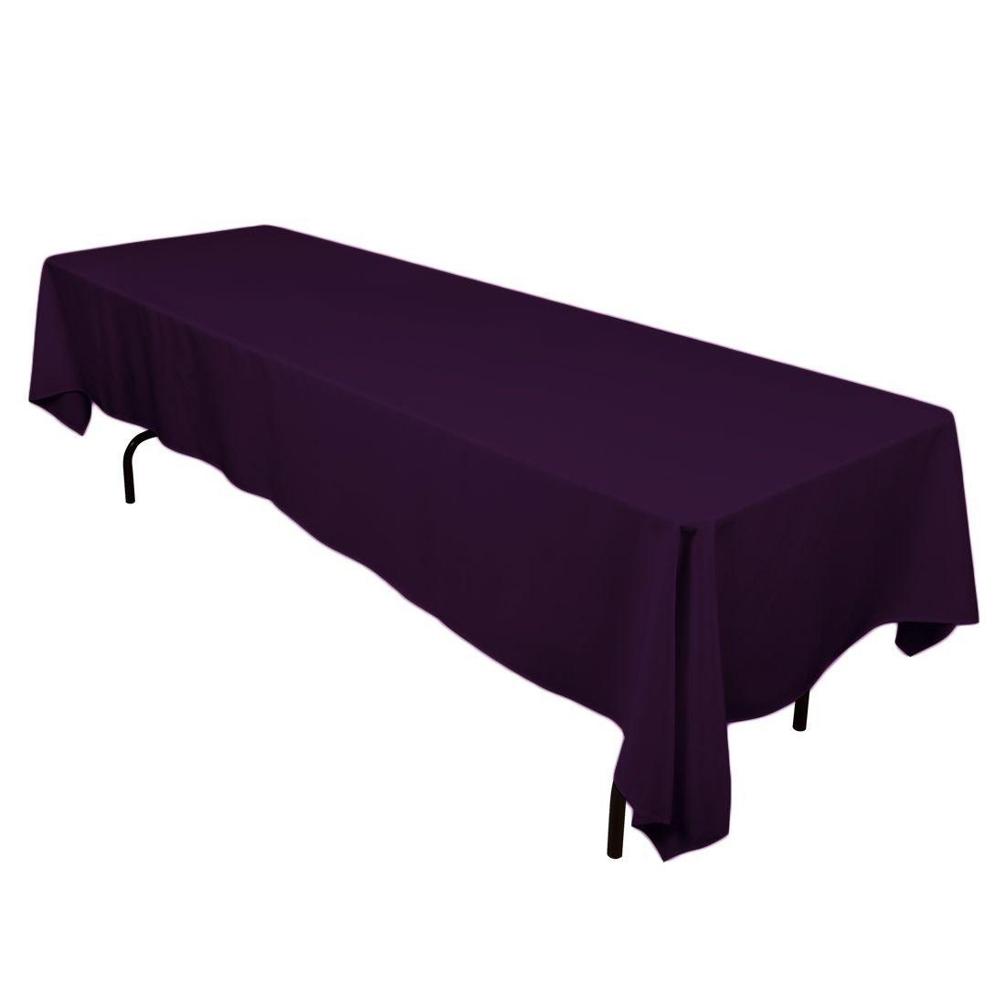 LinenTablecloth 60 x 126-Inch Rectangular Polyester Tablecloth Eggplant