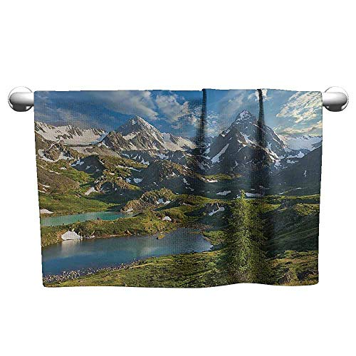 (Mannwarehouse Cottage Decor Collection Soft Bath Towel Siberia Altai Mountains Katun Ridge High Snowy Peaks with Skirts Grass Covered View W14 x L14 Green Blue )