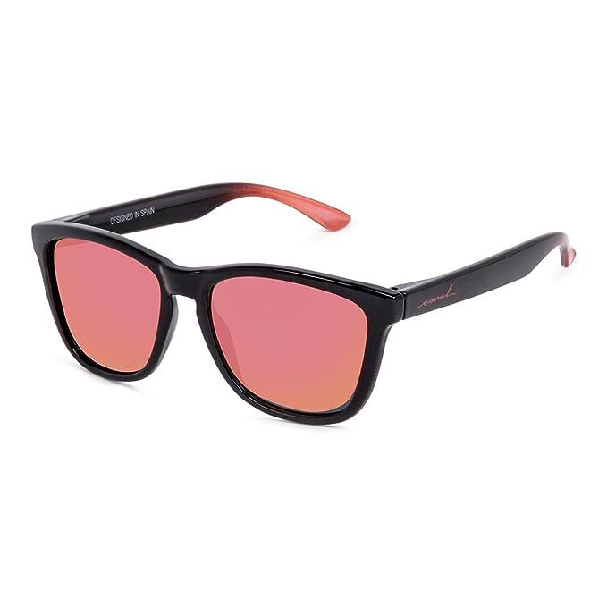 CORAL Sunglasses SALINA - Gafas de sol negras y lentes espejo revo rojas polarizadas. Acabado