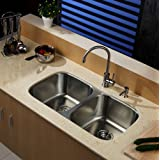Kraus KBU22-KPF2160-SD20 Stainless Steel Double Bowl Sink with Faucet and Soap Dispenser