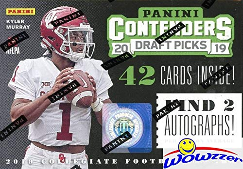 Picks Football Box - 2019 Panini Contenders Draft Pick NFL Football EXCLUSIVE Factory Sealed Retail Box with TWO(2) AUTOGRAPHS! Look for RCs & Autos of Kyler Murray, Daniel Jones, Dwayne Hoskins, Drew Lock & More! WOWZZER