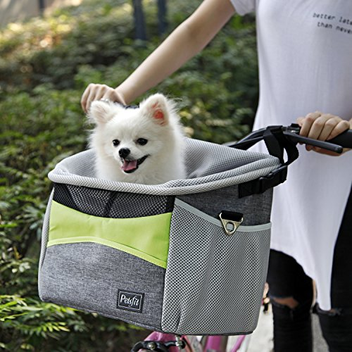 Petsfit Dog Baskets/Pet Carrier for Bicycle, with Big Side Pockets and Soft Pad, for Pets up To 15 LBS