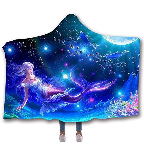 Sebetty Hooded Throw Blanket, Mermaids Soft Warm Wearable Blankets Cape Cloak Throw Wrap for Kids Adults