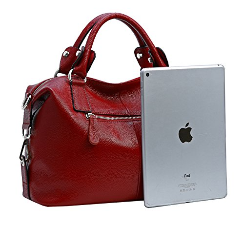 Review Heshe Leather Shoulder Bag Womens Tote Top Handle Handbags Cross Body Bags for Office Lady (Wine)
