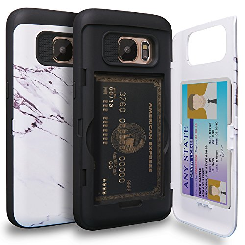 TORU CX PRO Galaxy S7 Wallet Case Pattern with Hidden ID Slot Credit Card Holder Hard Cover & Mirror for Samsung Galaxy S7 - Marble Stone