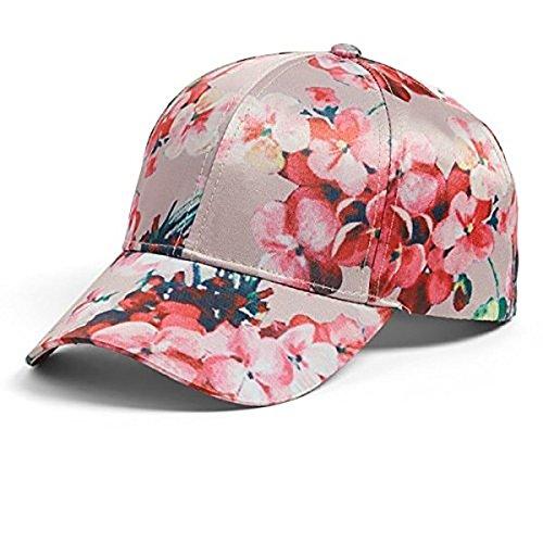 Silk Baseball Cap (Collection XIIX Women's Floral Silk Baseball Cap, Pink, One Size)