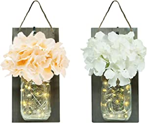 DECORMAN Rustic Mason Jar Sconce for Wall Decor, 30 LED Chic Hanging House Decor Mason Jars with LED Strip Lights, Silk Hydrangea, Iron Hooks for Home & Kitchen Decorations(Set of 2) (Grey)