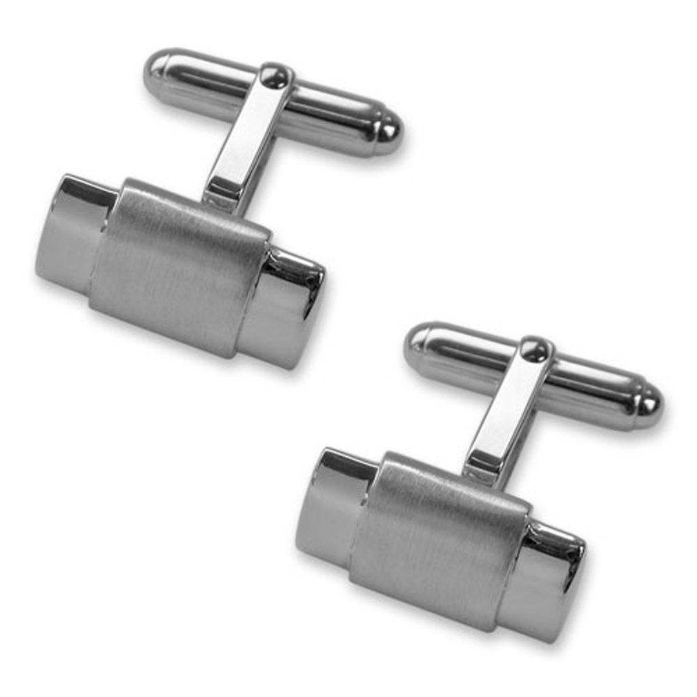 Sterling silver satin finish bar Cufflinks Tie Clip Box Set