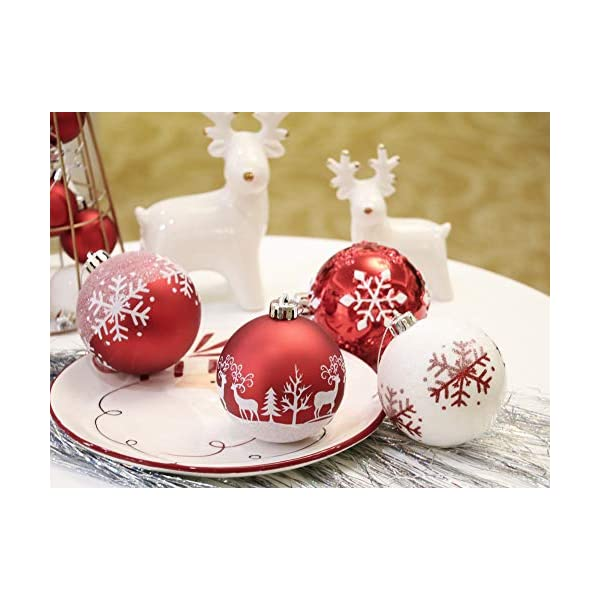 Valery Madelyn Palle di Natale 16 Pezzi 8cm Palline di Natale, Tradizionali Ornamenti di Palle di Natale Infrangibili Rossi e Bianchi per la Decorazione Dell'Albero di Natale 5 spesavip