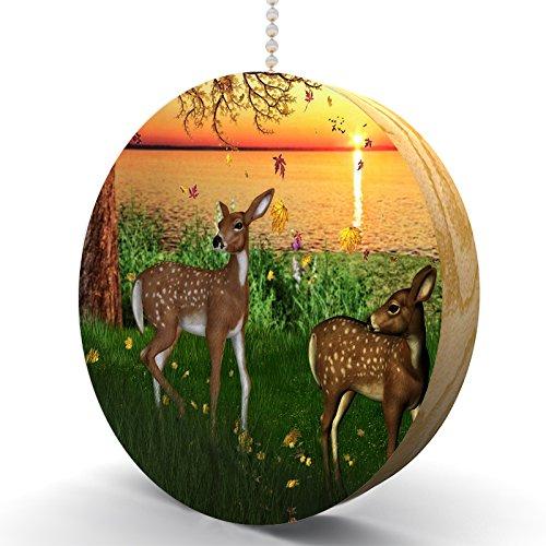 Sunset Autumn Foals Hardwood Oak Fan / Light Pull ()