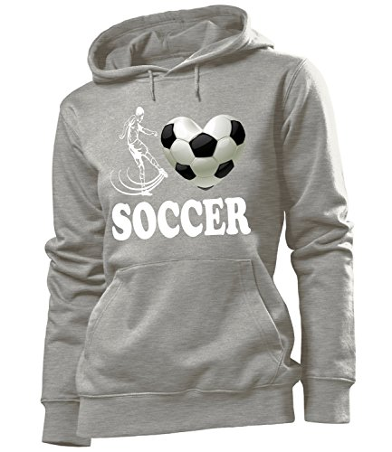 Sport - I Love Soccer - Cooler Comedy mujer Capucha Tamaño S to XXL varios colores S-XXL Gris