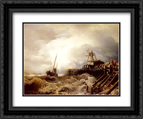 (Andreas Achenbach 2X Matted 24x20 Black Ornate Framed Art Print 'A Fishing Boat Caught in A Squall Off A Jetty')
