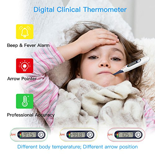 Digital Medical Thermometer, Sejoy Basal Thermometer for Oral, Rectal, Armpit Underarm, Flexible Tip, LCD Display, Waterproof Thermometer for Baby, Children, Adults,10 Probe Covers Included by Sejoy (Image #4)