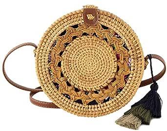 Special Design Wicker Straw Bag Purse for Women | Hand Woven Boho Bali Ata Rattan Crossbody Handbags (Asian Drum Natural)