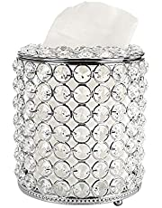 BTSKY Round Crystal Tissue Box Cover - Decorative Toliet Paper Box, Crystal Napkin Holder, Facial Tissue Holder for Bathroom Dresser Desk Table, Silver