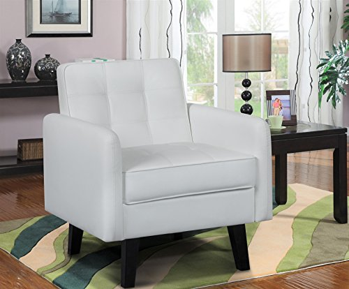 US Pride Furniture C134 Amore Accent Chair Tufted Leather, Small, White (Chair Accent Leather White)