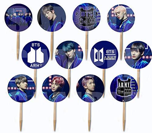 BTS Purple Cupcake Picks Cake Toppers (12 pcs) K-Pop Bangtan Boys South Korean Boy Band Jin Suga J-Hope RM Jimin V ()