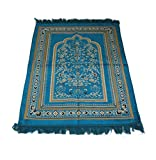 Islamic Prayer Velvet Rug Hutbe Leaf PatternJanamaz Sajjadah Muslim Namaz Seccade Turkish Prayer Rug (Turqouise)