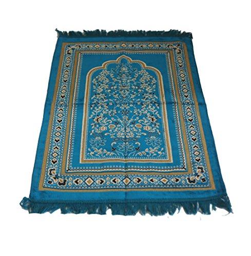 Islamic Prayer Velvet Rug Hutbe Leaf PatternJanamaz Sajjadah Muslim Namaz Seccade Turkish Prayer Rug (Turqouise) by MKISLA