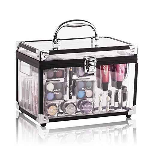 Maúve Professional Makeup Kit - Eyeshadow,Pedicure,manicure With Black Trim Clear Case MU10 by Maúve