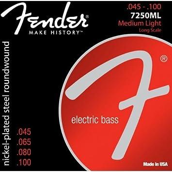 Fender 7250 ml Cuerdas para bajo eléctrico (045 - 100: Amazon.es: Electrónica