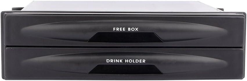 Car Auto Single Din Radio Pocket Black Universal Cd Radio Pocket Drink Cup Holder Storage Box