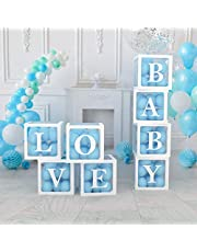 Baby Shower Decorations Boxes for Gender Reveal | Baby Boy And Girl | Birthday | Bridal shower | Wedding Decorations - 4 Clear Boxes with 16 Letters LOVE and BABY Stickers - 40pcs Transparent Box for Balloons and Event Decorations for Girls and Boys - White