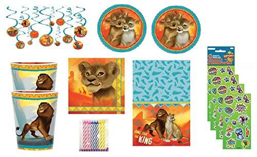 party bundle The Lion King Birthday Party Supply Favor Set for 16 includes Dessert Plates, Napkins, Cups, Table Cover, Swirl Hanging, Candles, Stickers -