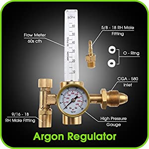 Argon Regulator TIG Welder MIG Welding CO2 Flowmeter 10 to 60 CFH - 0 to 4000 psi pressure gauge CGA580 inlet Connection Gas Welder Welding Regulator More Accurate Gas Metering For Gas Delivery System from Pro Argon