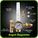 TIG Welder - Argon Regulator TIG Welder MIG Welding CO2 Flowmeter 10 to 60 CFH - 0 to 4000 psi pressure gauge CGA580 inlet Connection Gas Welder Welding Regulator More Accurate Gas Metering For Gas Delivery System