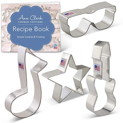 Rock Star Cookie Cutter Set with Recipe Booklet - 4 piece - Star, Electric Guitar, Sunglasses & Music Note - Ann Clark - USA Made Steel