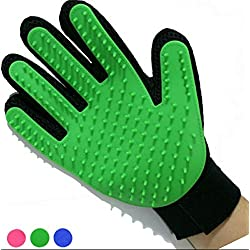 Pet Grooming Glove Brush Glove Pet Hair Remover Massage Tool-Perfect for Dogs & Cats with Long & Short Fur (Green)