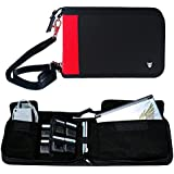 Technoskin - All In One Travel Carrying Case for NEW 3DS or NEW 3DS XL - Black and Red - 12 Game Holders - Charger Pouch - Carrying Strap - Lifetime Guarantee
