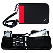 Technoskin - All In One Travel Carrying Case for NEW 3DS or NEW 3DS XL - Black and Red - 12 Game Holders - Charger Pouch