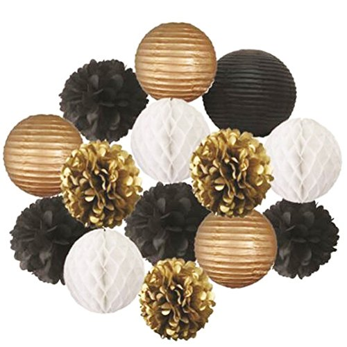 Escoolr Black Gold White Tissue Pom Poms Paper Flowers Paper Lanterns for Birthday Party (Black And Gold Pom Poms)