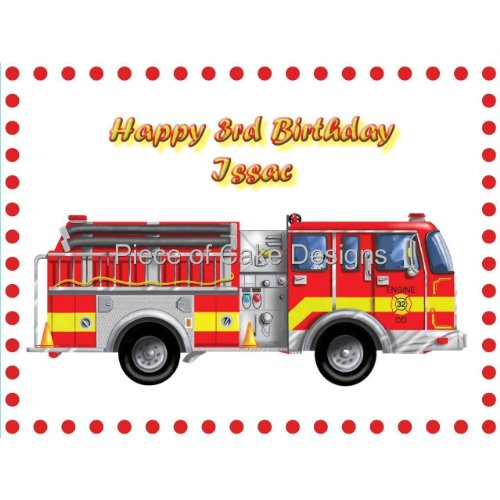 Fire Truck Edible Cake Toppers