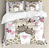 Kids Decor Duvet Cover Set by Ambesonne, Cute Giraffes Baby in Pure Love with Butterflies and Hearts Bows Print, 3 Piece Bedding Set with Pillow Shams, King Size, Pink White and Grey