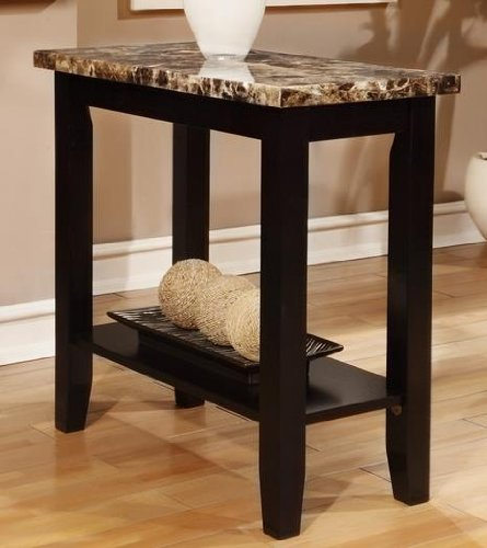 marble top end tables Amazon.com: Poundex Rectangular Black Faux Marble Top Chair Side  marble top end tables