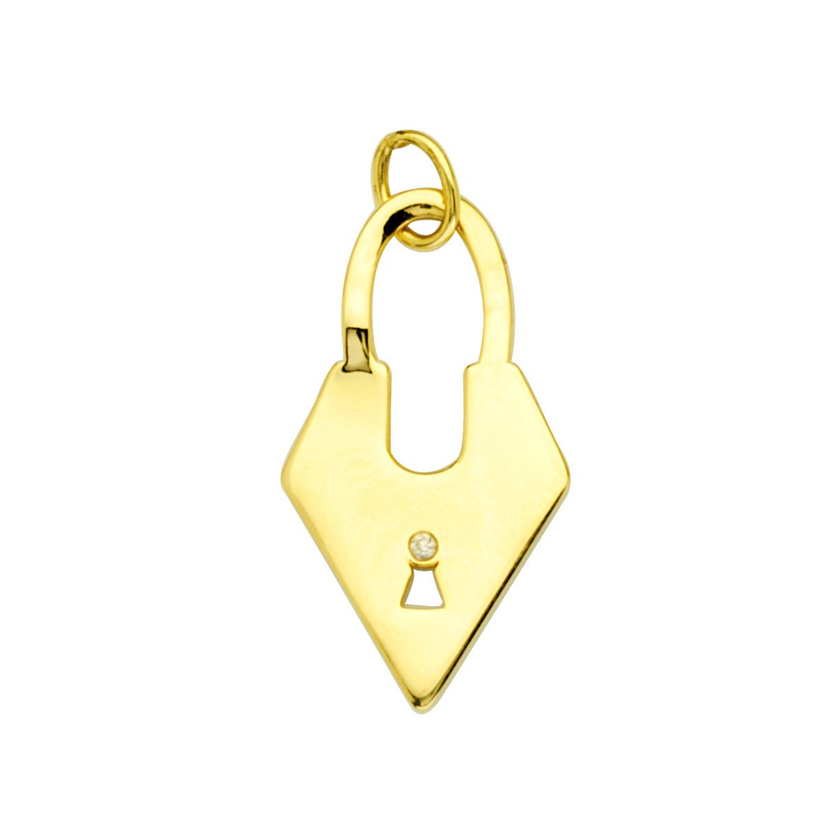Lock Pendant 1 Pt Diamond Lock Pendant 14kt Gold