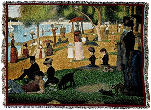 Pure Country Weavers - A Sunday Afternoon on the Island of La Grande Jatte Woven Tapestry Throw Blanket with Fringe Cotton. USA Size 70x53 ()