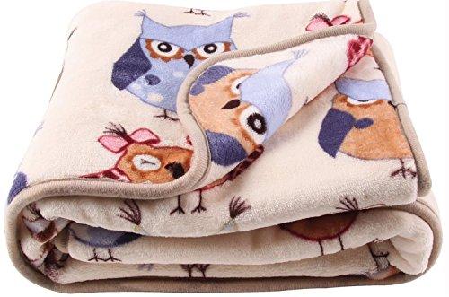 LittleBees Newborn Toddler Soft Quality Fleece Baby Blanket (White Night Owl)