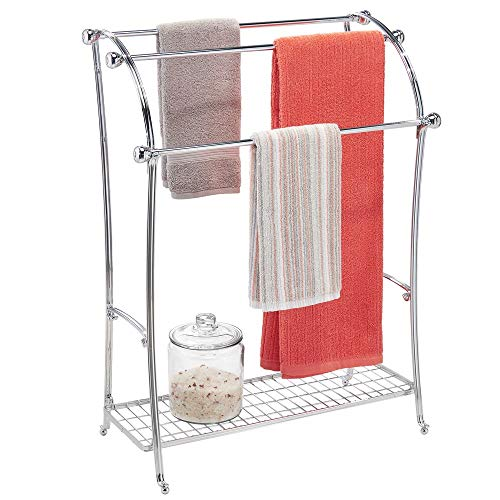 (mDesign Large Freestanding Towel Rack Holder with Storage Shelf - 3 Tier Metal Organizer for Bath & Hand Towels, Washcloths, Bathroom Accessories - Chrome)