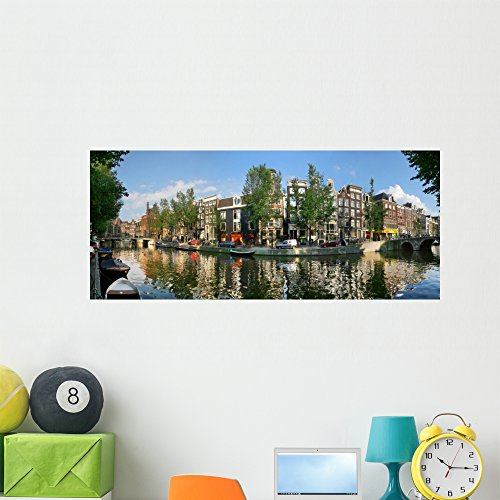 Amsterdam Canal Wall Mural by Wallmonkeys Peel and Stick Panoramic Decal Graphics (48 in W x 20 in H) WM167246 (Capital 48 Inch Natural)